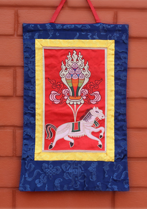 Windhorse with Wish Fulfilling Jewel Brocade Wall Hanging - nepacrafts