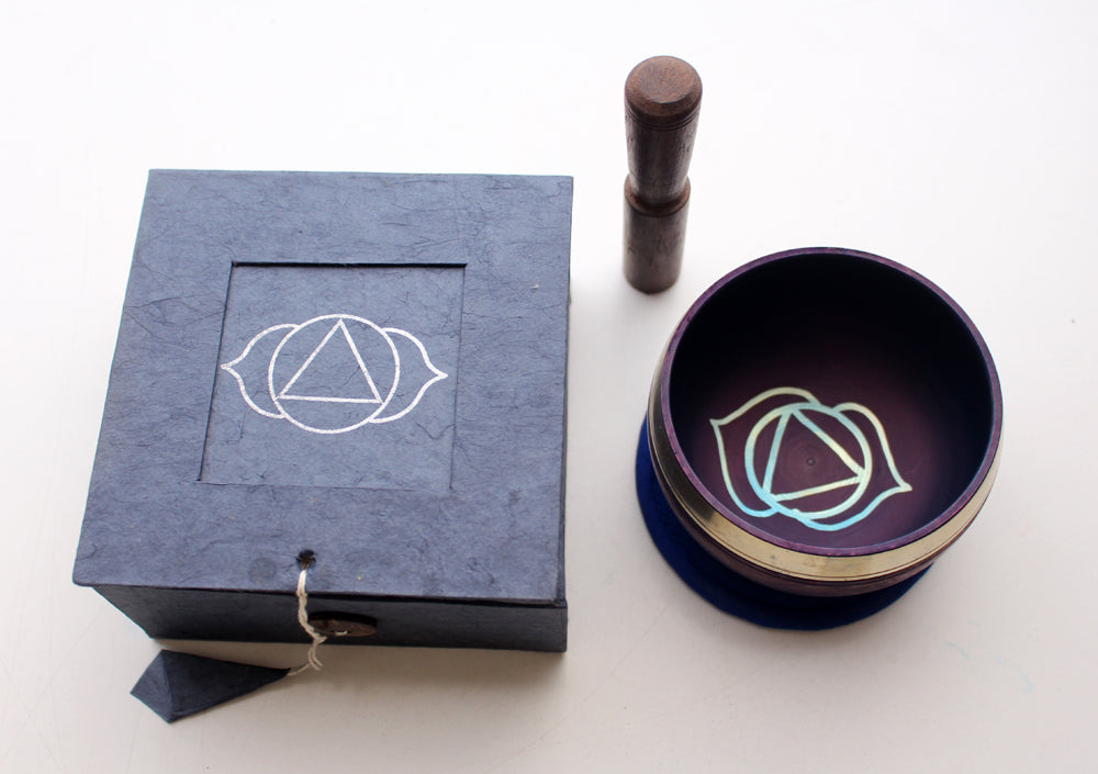 Third Eye Painted Singing Bowl with Cushion and Stupa Stick in a Gift Box - nepacrafts