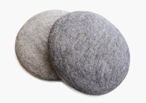 Round Grey Double Sided Felt Wool Seat Cushion - nepacrafts