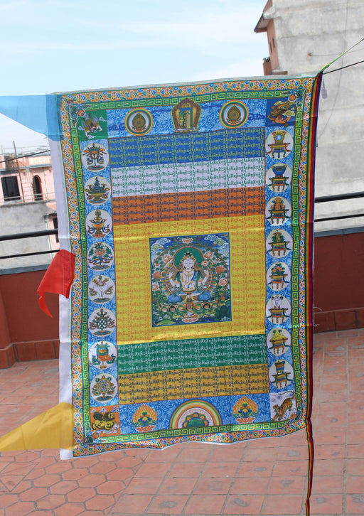 Color Printed Chenrezig Vertical Tibetan Prayer Flags - nepacrafts