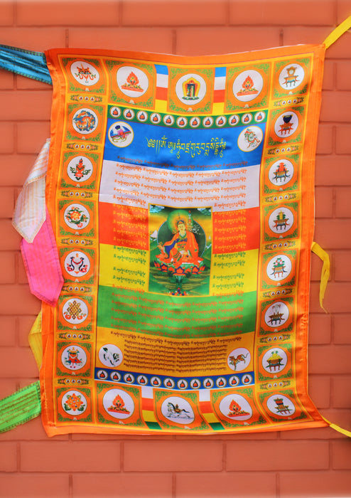 Color Printed Guru Padmasambhava Vertical Tibetan Prayer Flags - nepacrafts