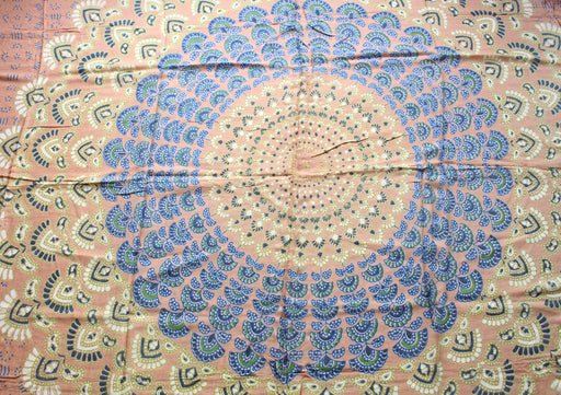 Cream and Blue Mandala Print Cotton Summer Shawl/Scarf with Fringe - nepacrafts