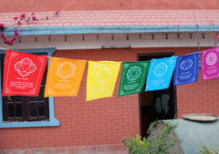 Seven Chakra Prayer Flags with beautiful Spiritual Messages - NepaCrafts