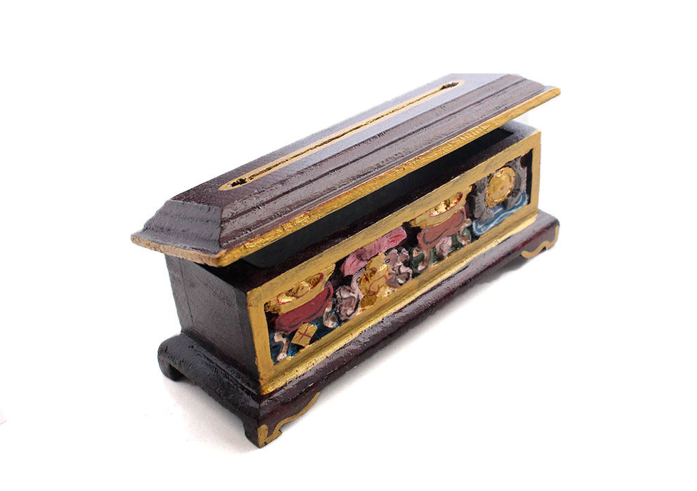 Mini Astamangal Wooden Incense Burner Box - nepacrafts