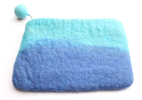 Beautiful Torquoise and Blue Stripes Felt Zipper Coin Purse - NepaCrafts