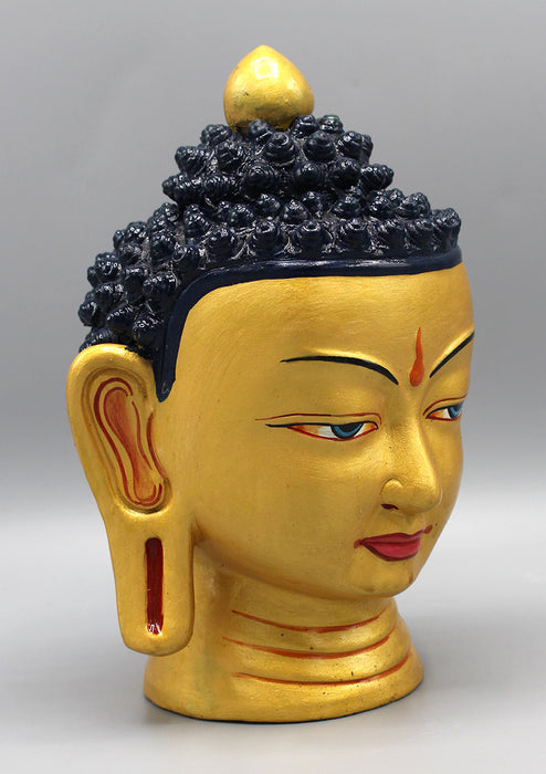 Hand-Painted Clay Buddha Head