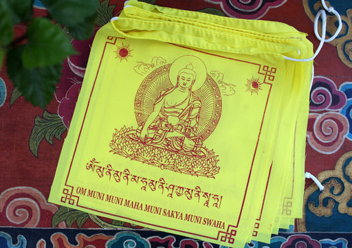 Shakyamuni Buddha Printed All Yellow Tibetan Prayer Flag - nepacrafts