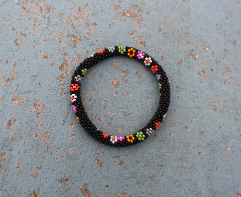 Black Beads Roll on Bracelets with Multicolor Flower Design - NepaCrafts