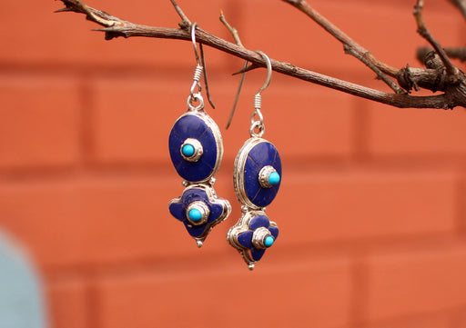 Lapis and Turquoise Inlaid Floral Dangle Silver Earrings - nepacrafts