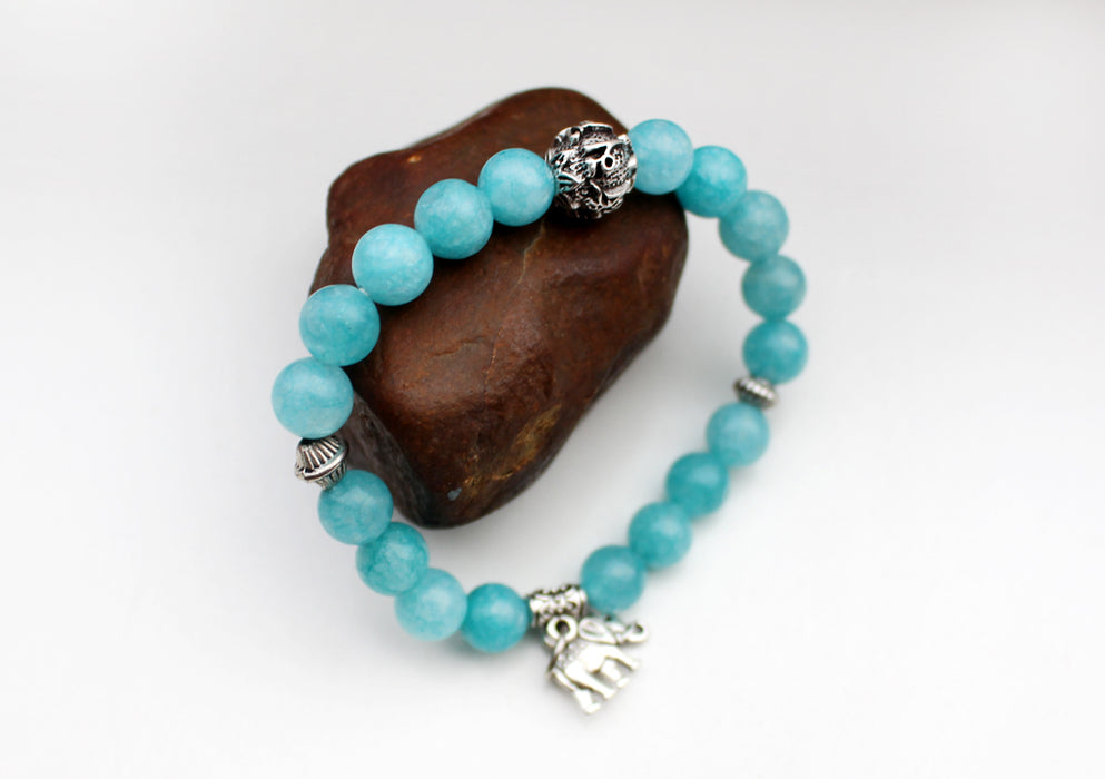 Colorful Stone Beaded Bracelet with Elephant Charm - nepacrafts
