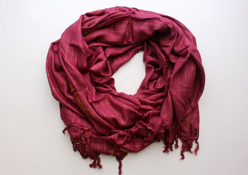 Coffee Marron Plain Jari Cotton Scarf with Golden Lining - nepacrafts