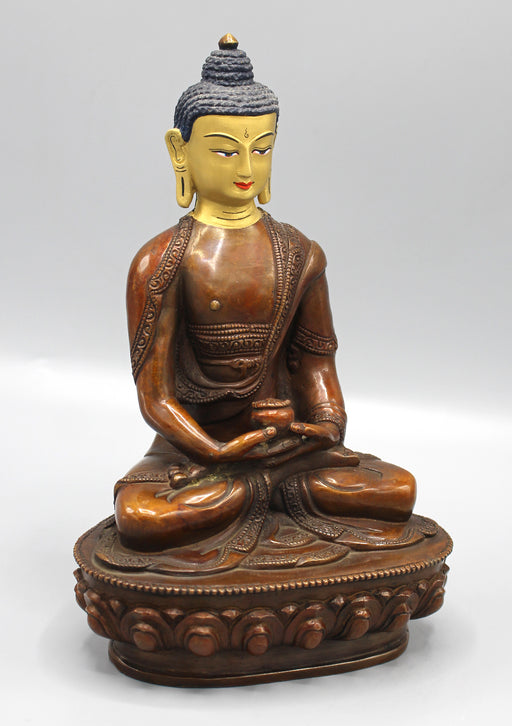 Gold Face Painted Copper Oxidized Amitabha Buddha Statue