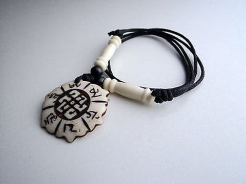 Om Mani Mantra and Endless Knot Bone Pendant Necklace