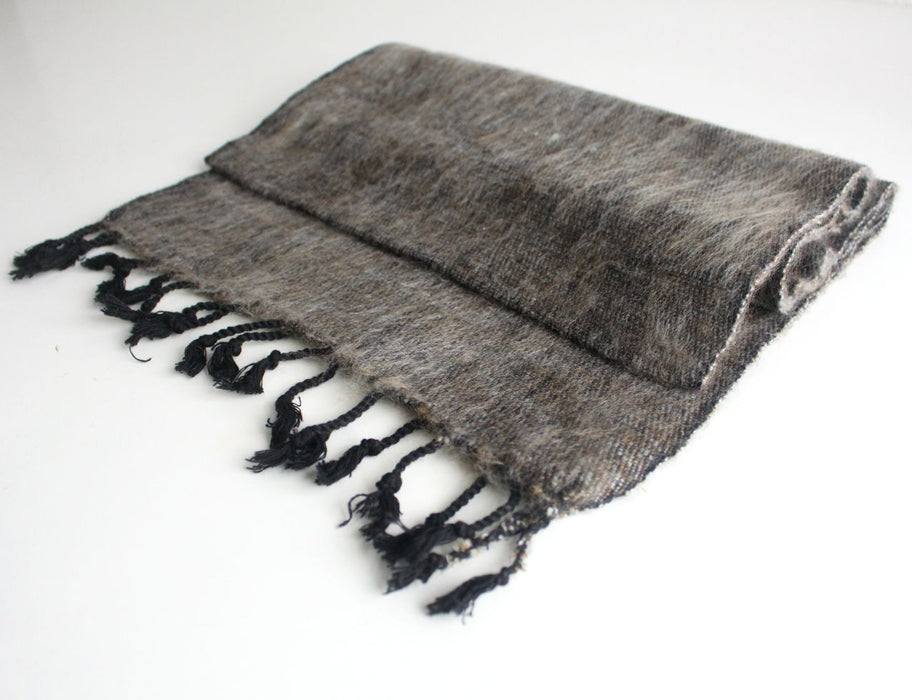 Traditional Hand Loomed Gray Brown Woolen Muffler - nepacrafts