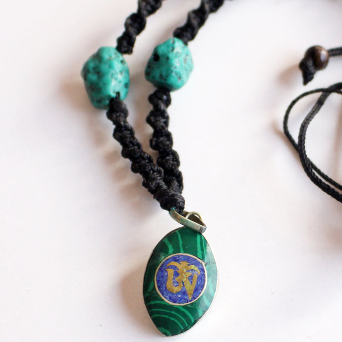 Lapis Inlaid Tibetan Om Pendant Necklace - nepacrafts