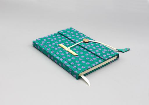 Flower Printed Green Eco Friendly Lokta Paper Journal - nepacrafts
