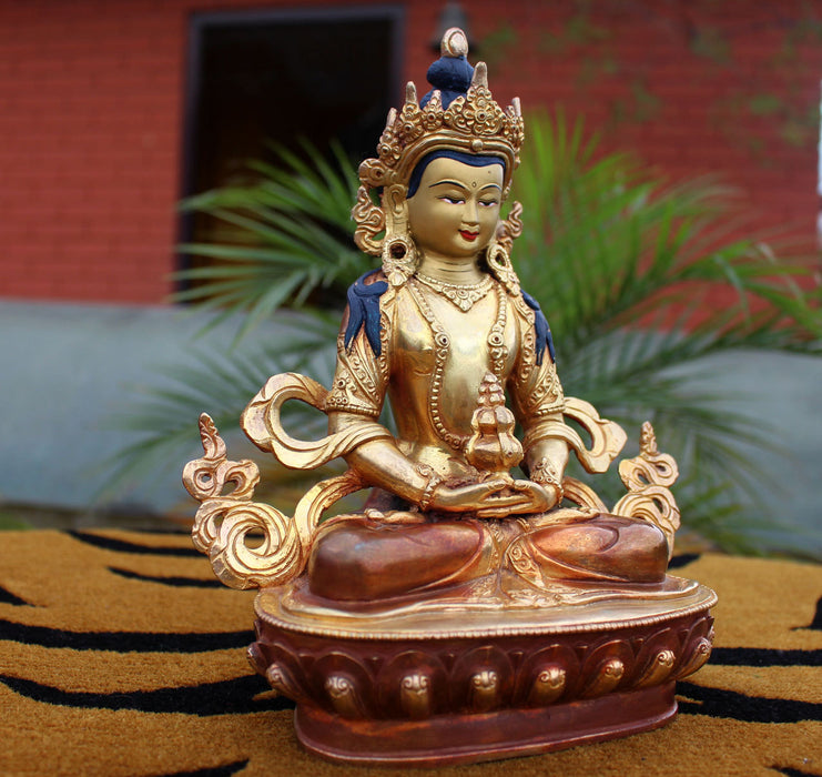 "Partly Gold Plated Aparmita Buddha Statue-Copper 8"" Buddha Statue SSST297 - nepacrafts"
