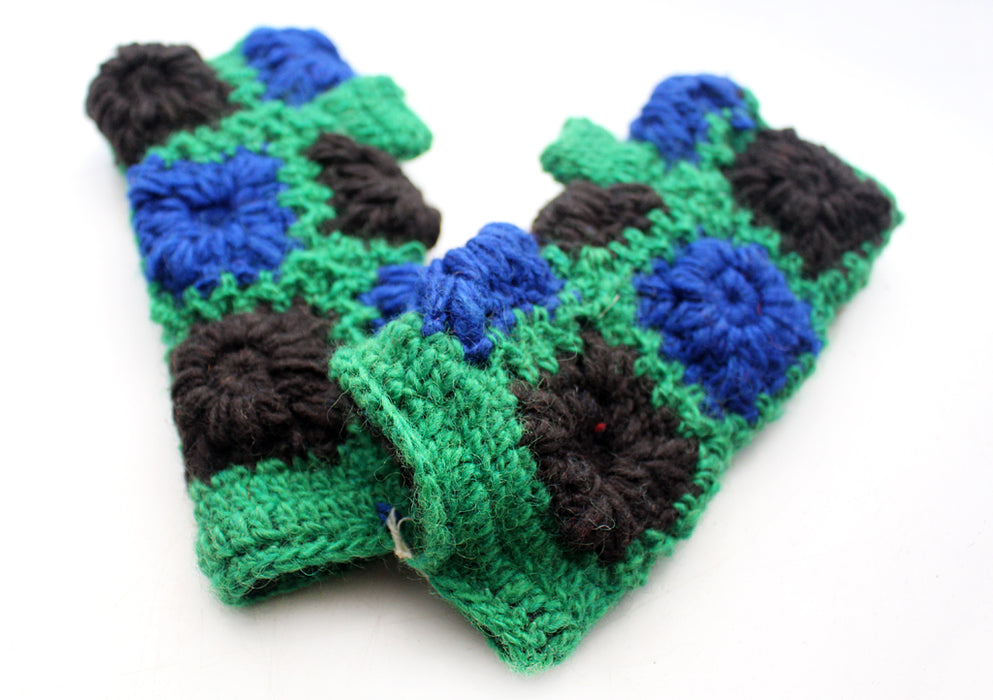 Green and Blue Color Finger less Gloves / Wrist Warmers/Hand Warmers - nepacrafts