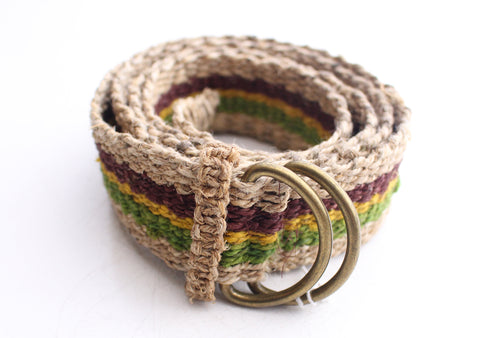 Green, Yellow and Purple Striped Hand Woven Unisex Hemp Belt