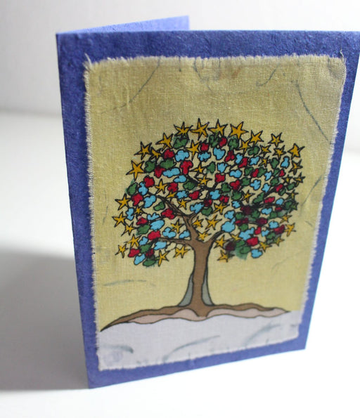 Fair Trade Batik Tree Greeting Cards - nepacrafts