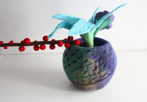 Colorful Felt Flower Vase