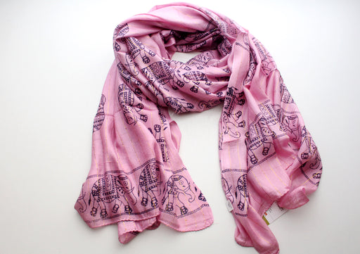 Light Pink Cotton Meditation Scarf with Elephant Print, Jari Shawl/Scarf - nepacrafts