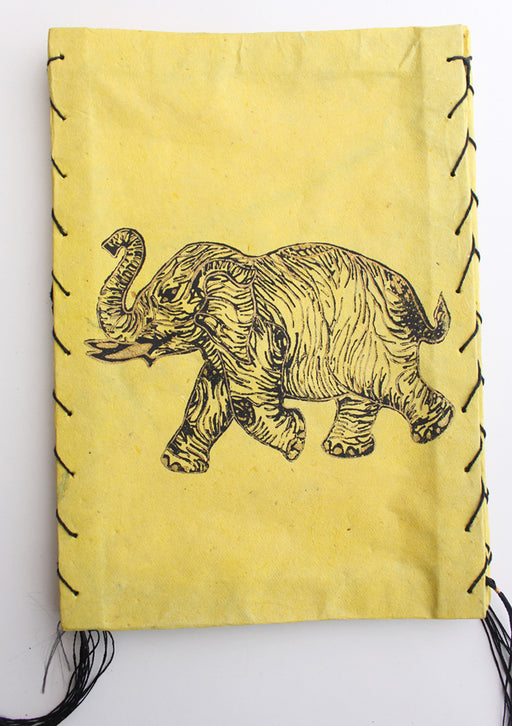 Elephant Printed Yellow Lokta Paper Ceiling Hanging Lamp Shade - nepacrafts