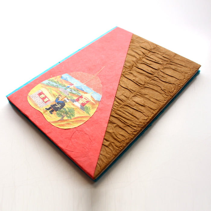 A Devotee Sherpa, Handpainted Bodhi Leaf Lokta Paper Journal - nepacrafts