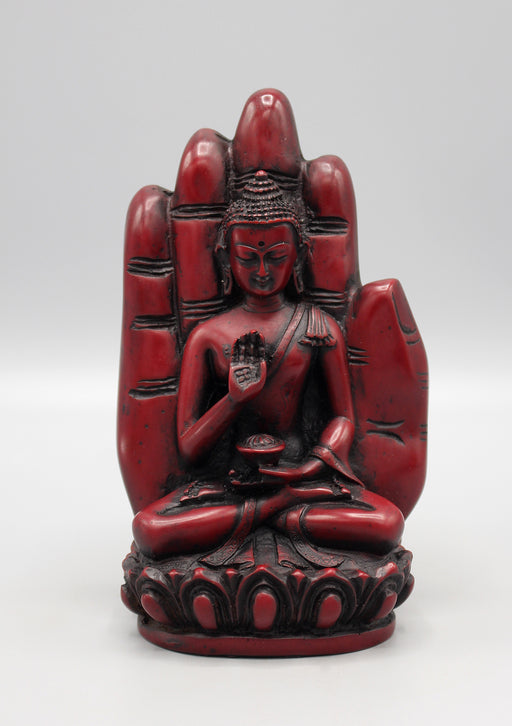 Blessing Palm  Maroon Buddha Resin Statue - nepacrafts