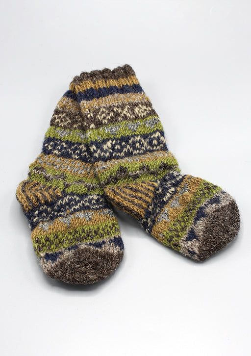 Hand Knit  Multicolored Childrens Woolen Socks