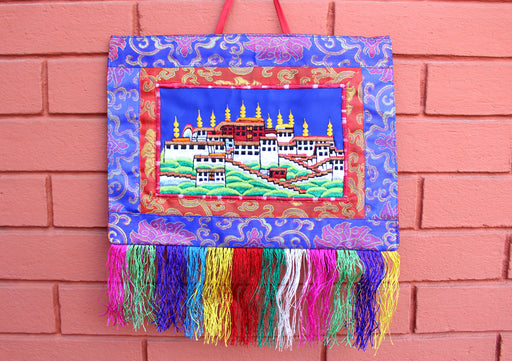 Potala Palace Embroidered Tibetan Wall Hanging Banner - nepacrafts