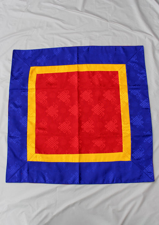Red Silk Brocade Buddhist Endless Knot Altar Cloth - nepacrafts