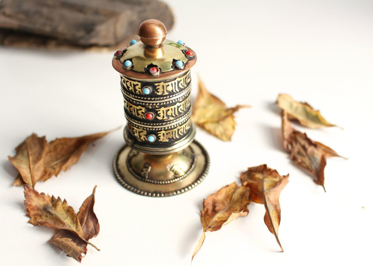 Small Copper Inlay Prayer Wheel