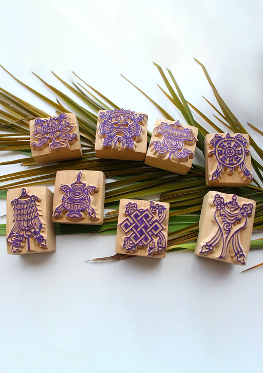 Set of Eight Auspicious Symbols Wooden Stamps