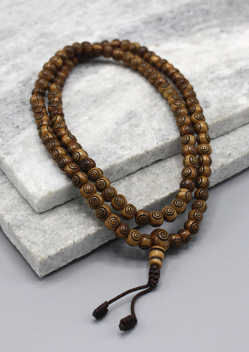 Brown 108 Beads Prayer Mala for Meditation - nepacrafts