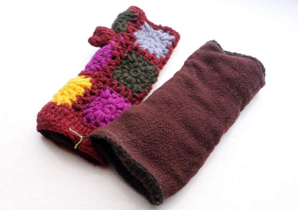 Gorgeous Maroon Yellow and Brown Color Finger less Gloves/Hand Warmers - nepacrafts