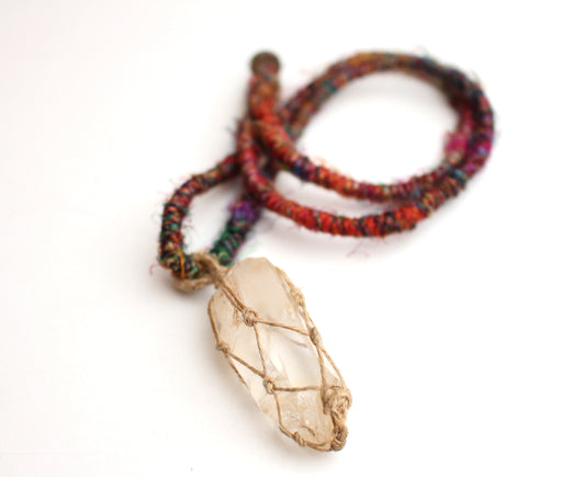 Himalayan Rock Crystal Pendant Necklace - nepacrafts