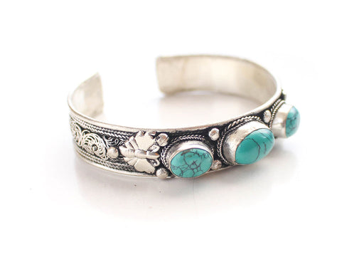 Turquoise Inlaid Filigree Pattern Tibetan White Metal Bracelet - nepacrafts