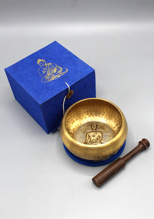 Shakyamuni Buddha Embossed Hand Hammered Tibetan Singing Bowl Gift Set