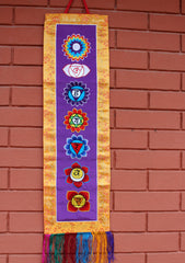 Seven Chakra Embroidered Purple Polyester Wall Hanging Banner