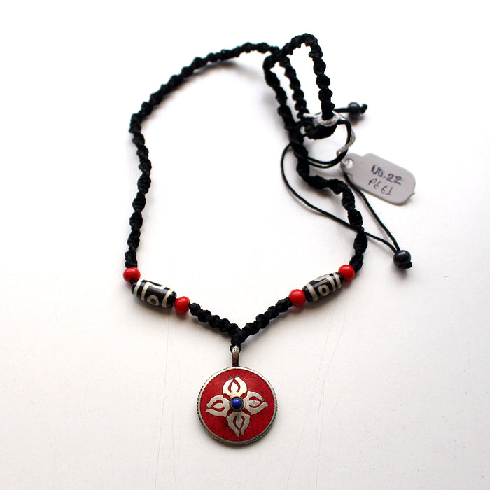 Coral Inlaid Double Dorjee Pendant - nepacrafts