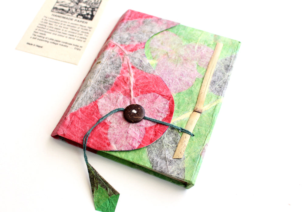 Real Leaves Printed Green Color Lokta Paper Journal Book - nepacrafts