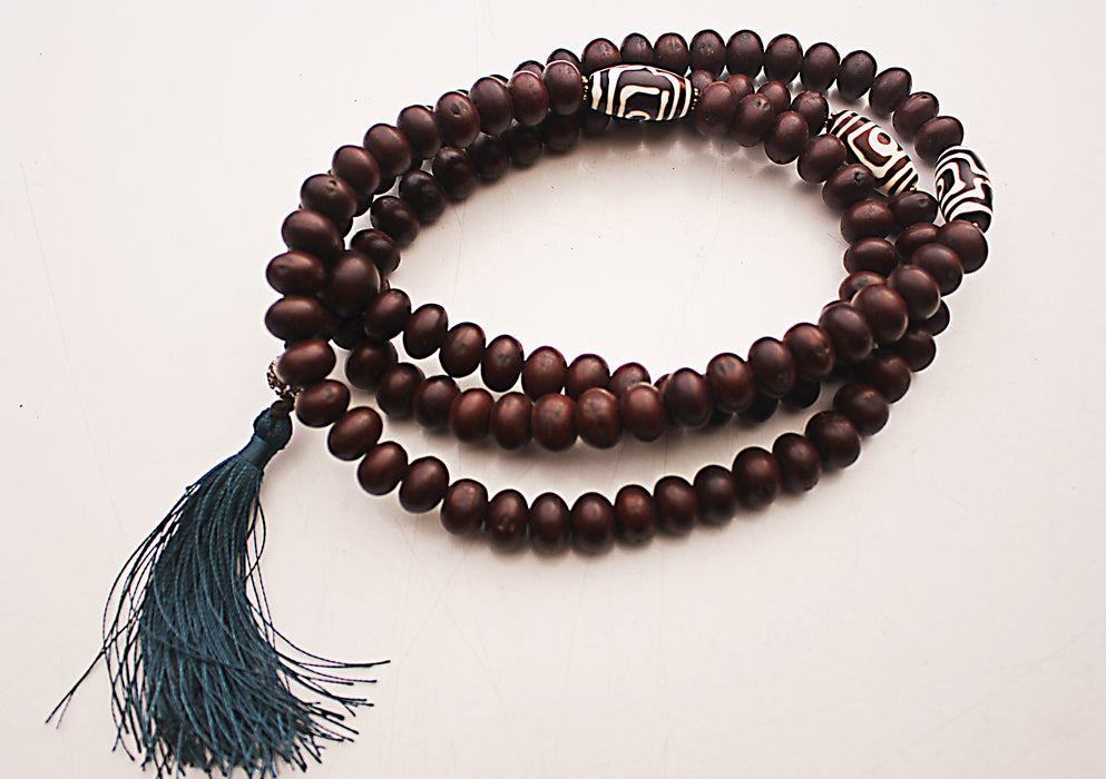 Dark Bodhi Mala with Dzi Beads Spacer - nepacrafts