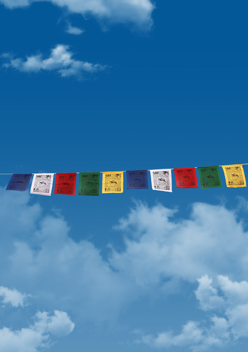10 Sheets of Wind Horse and Tibetan Guardian Printed Prayer Flags