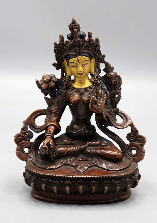 Hand Crafted Partly Gold Plated Exquisite White Tara Statue