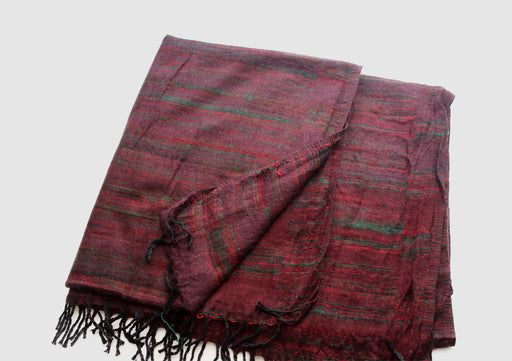 Green and Red Lining Brown Yak Wool Travel Wrap