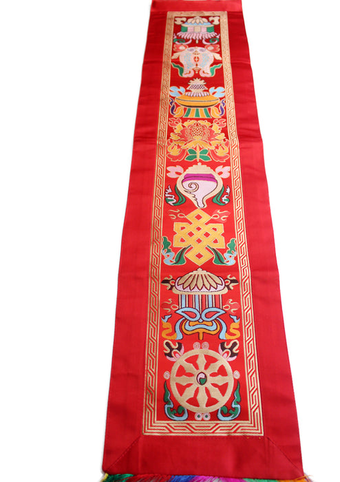 Eight Auspicious Symbol Embroidered Tibetan Wall Hanging Banner - nepacrafts