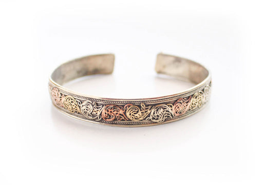 Brass and Copper Filigree Carving Handmade Unisex Bracelet - nepacrafts