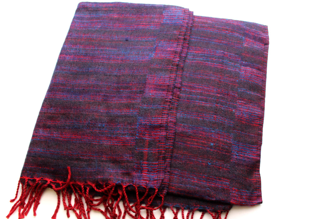 Black Woolen Blanket Shawl with Red and Blue Stripe - nepacrafts