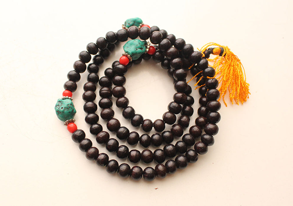 Natural Black Wooden Beads Mala with Faux Turquoise Counter - nepacrafts